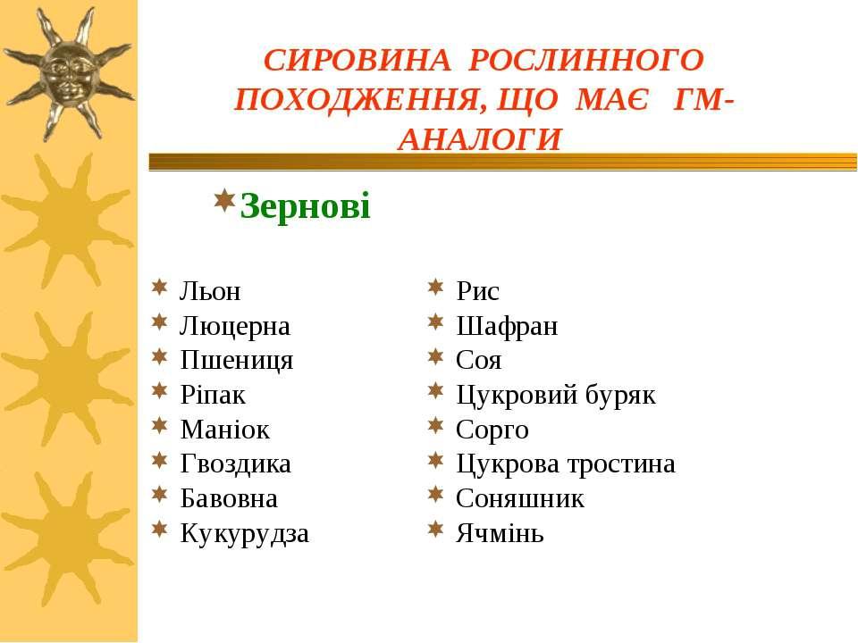 Льон Люцерна Пшениця Ріпак Маніок Гвоздика Бавовна Кукурудза Рис Шафран Соя Ц...