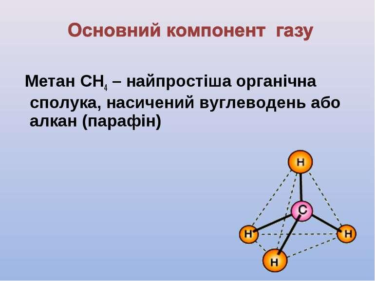 Метан СН4 – найпростіша органічна сполука, насичений вуглеводень або алкан (п...