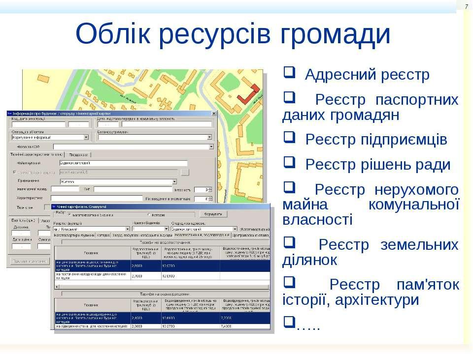 * Облік ресурсів громади Адресний реєстр Реєстр паспортних даних громадян Реє...