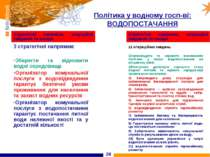 * Політика у водному госп-ві: ВОДОПОСТАЧАННЯ Стратегічні напрямки, операційні...
