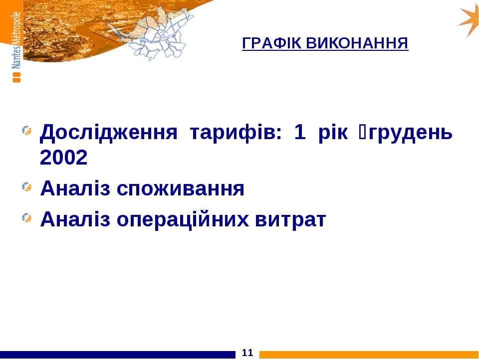 * ГРАФІК ВИКОНАННЯ Дослідження тарифів: 1 рік грудень 2002 Аналіз споживання ...