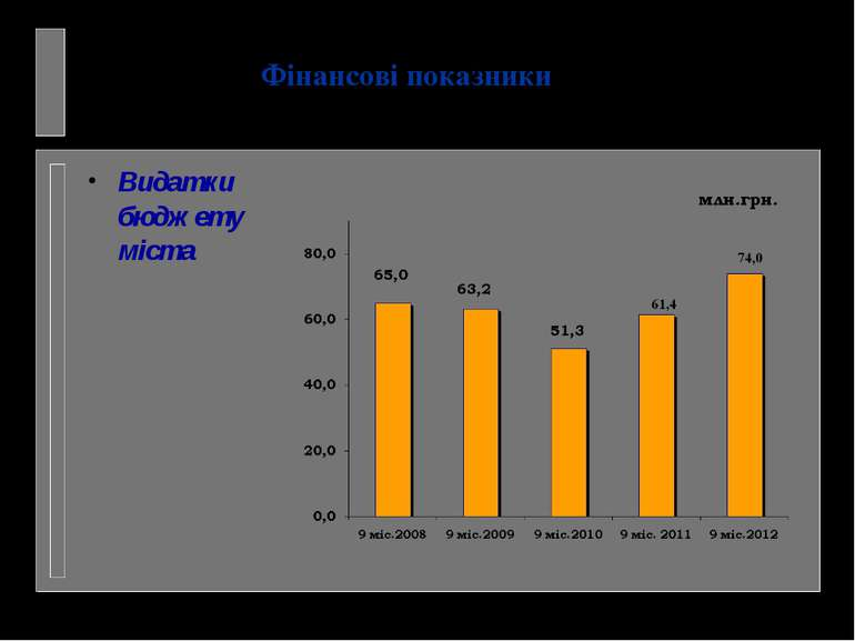 Видатки бюджету міста Фінансові показники