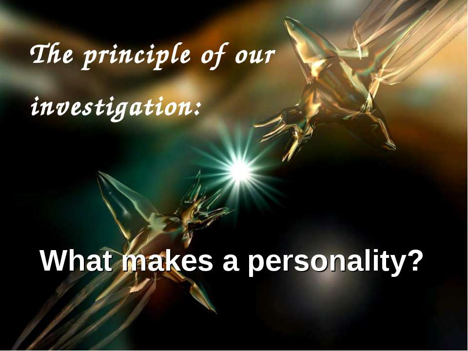 The principle of our investigation: What makes a personality?