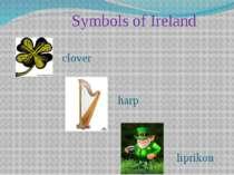 Symbols of Ireland clover harp liprikon