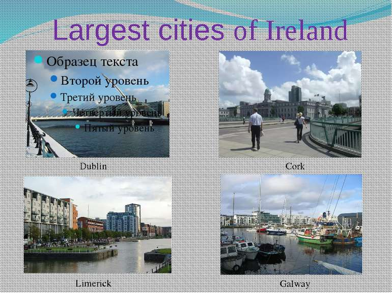 Largest cities of Ireland Dublin Cork Limerick Galway
