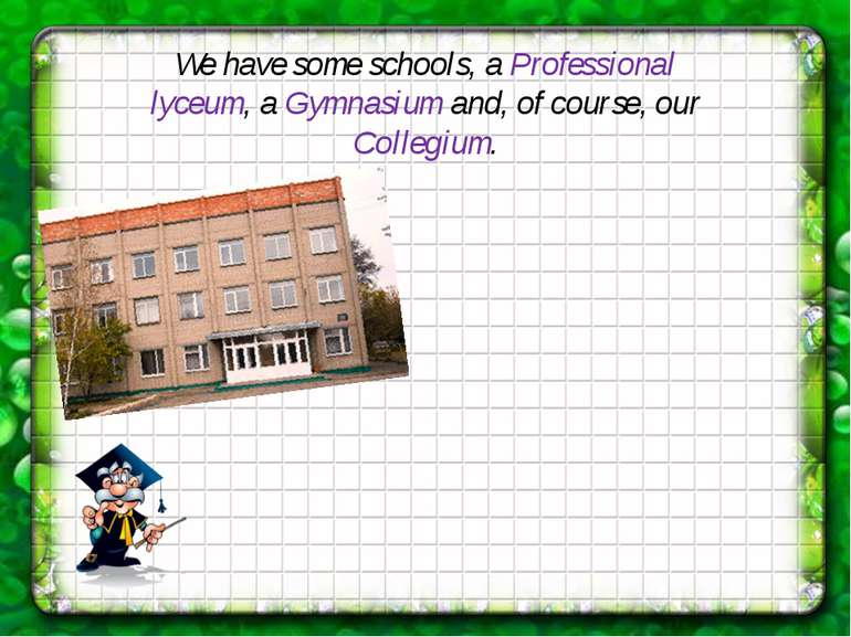 We have some schools, a Professional lyceum, a Gymnasium and, of course, our ...