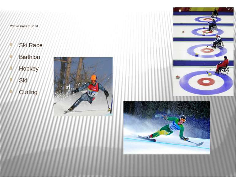 Winter kinds of sport Ski Race Biathlon Hockey Ski Curling
