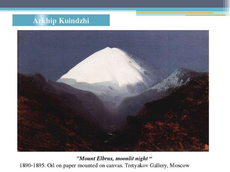 "Arkhip Kuindzhi ""Mount Elbrus, moonlit night "" 1890-1895. Oilon paper mounte..."