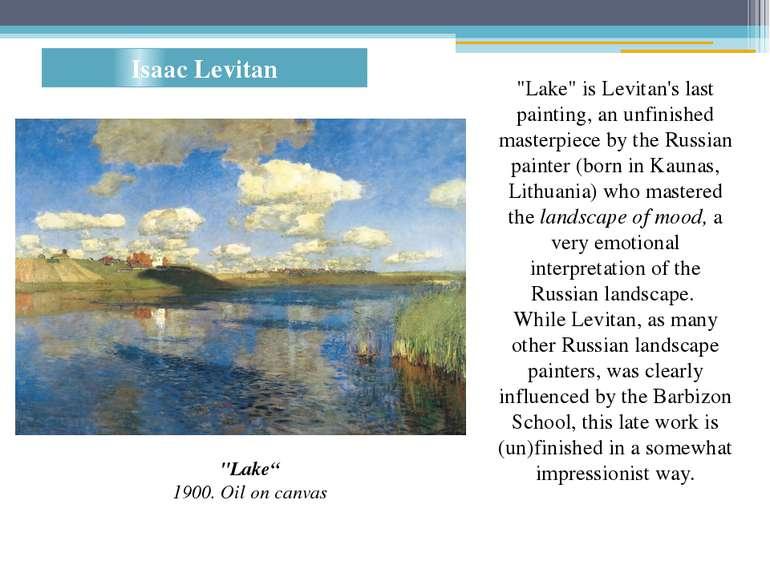 "Isaac Levitan ""Lake"" 1900. Oil on canvas ""Lake"" is Levitan's last painting, a..."