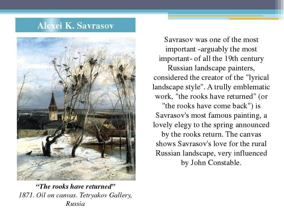 "Alexei K. Savrasov ""The rooks have returned"" 1871. Oil on canvas. Tetryakov G..."