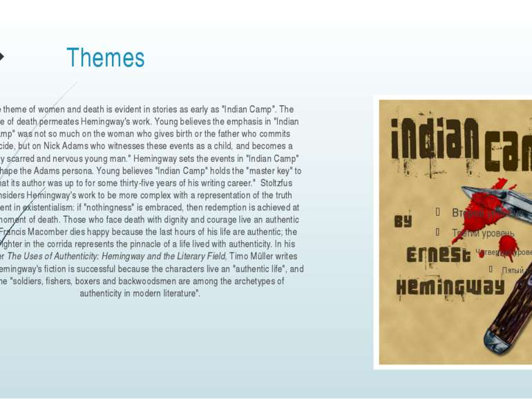 "Themes The theme of women and death is evident in stories as early as ""Indian..."