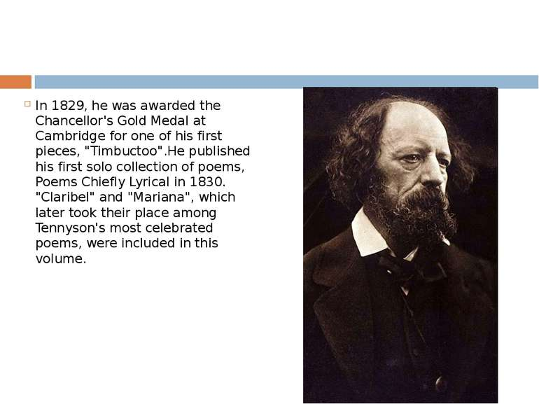 In 1829, he was awarded the Chancellor's Gold Medal at Cambridge for one of h...