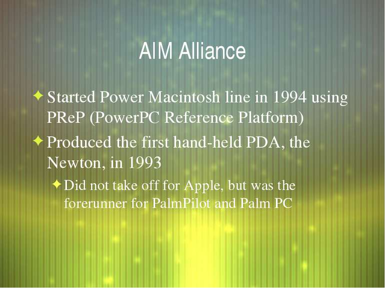 AIM Alliance Started Power Macintosh line in 1994 using PReP (PowerPC Referen...