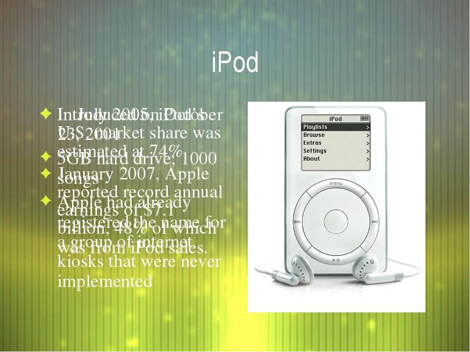iPod Introduced on October 23, 2001 5GB hard drive; 1000 songs Apple had alre...