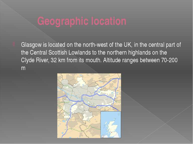 Geographic location Glasgow is located on the north-west of the UK, in the ce...