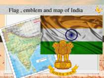 Flag , emblem and map of India