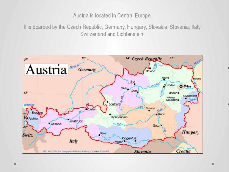 Austria is located in Central Europe. It is boarded by the Czech Republic, Ge...