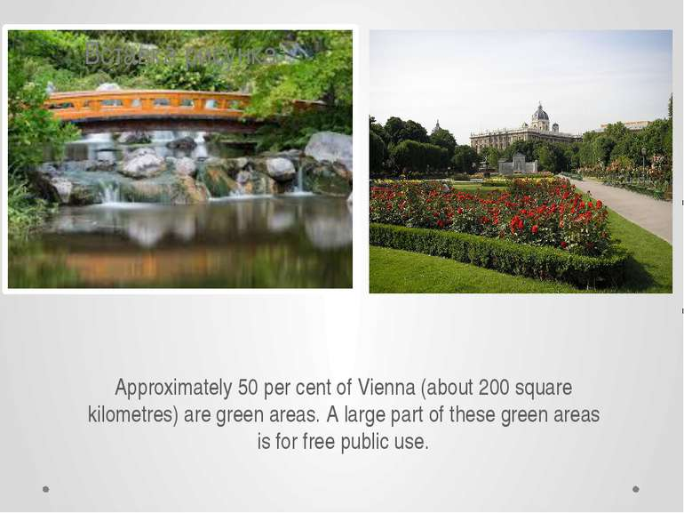 Approximately 50 per cent of Vienna (about 200 square kilometres) are green a...