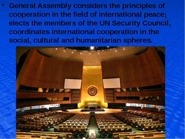 General Assembly considers the principles of cooperation in the field of inte...
