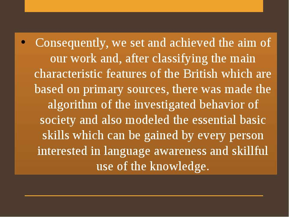 Consequently, we set and achieved the aim of our work and, after classifying ...
