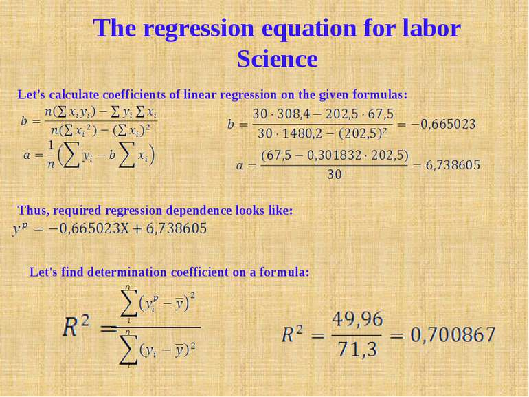 i i n n The regression equation for labor Science Let's calculate coefficient...