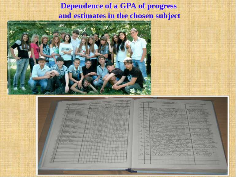 Dependence of a GPA of progress and estimates in the chosen subject