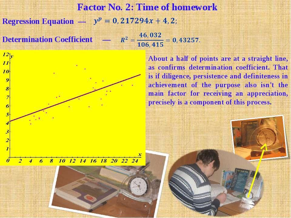Factor No. 2: Time of homework Regression Equation —  Determination Coeffici...