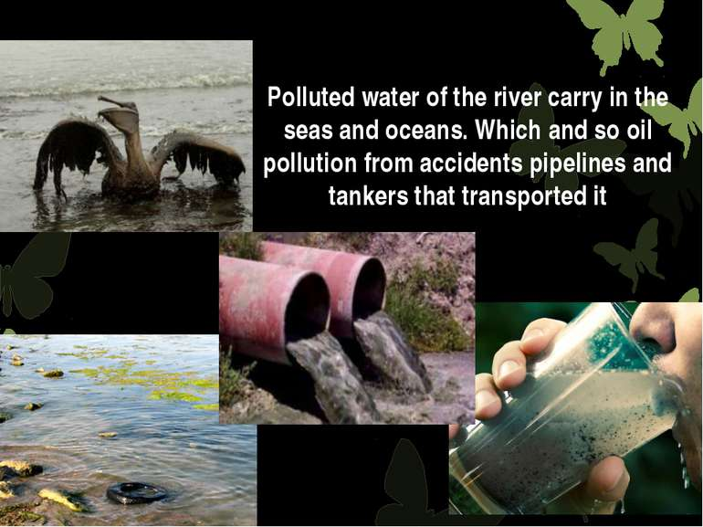 Polluted water of the river carry in the seas and oceans. Which and so oil po...