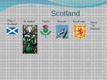 "Scotland Flag of Scotland St.Andrew Thistle Unicorn Royal arms Motto ""In Defe..."