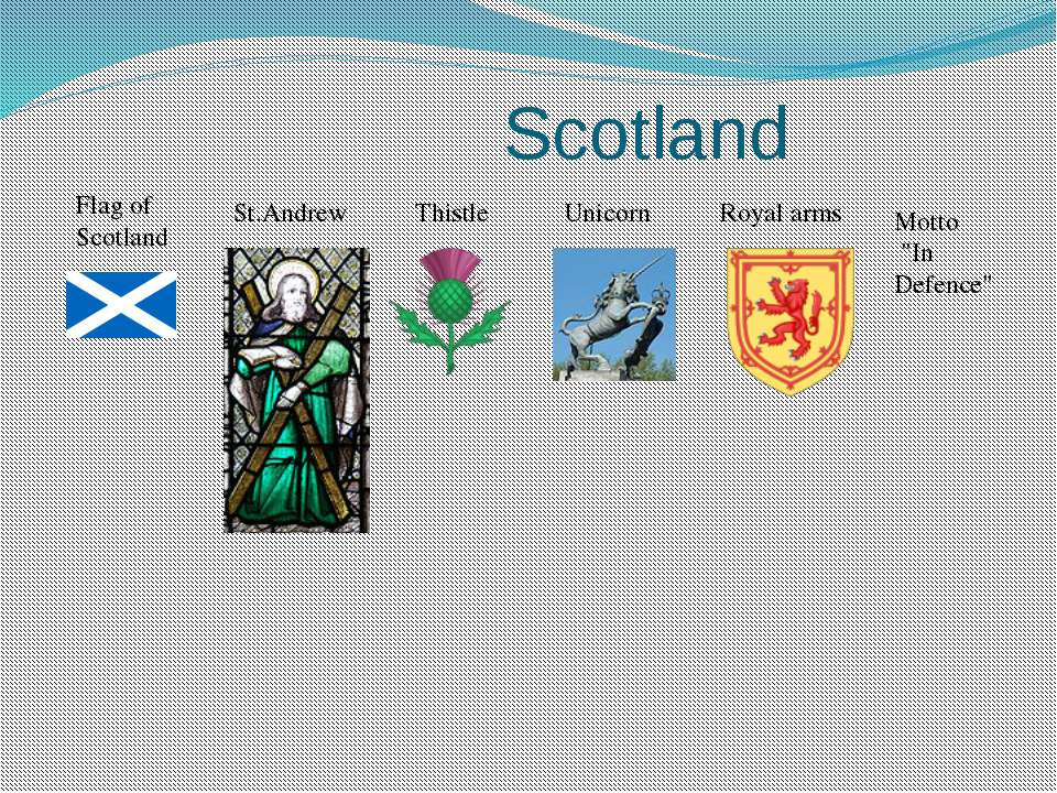 """Scotland Flag of Scotland St.Andrew Thistle Unicorn Royal arms Motto """"In Defe..."""