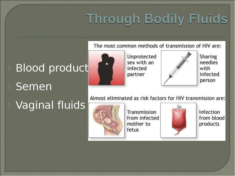 Blood products Semen Vaginal fluids