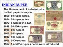 INDIAN RUPEE The Government of India introduced its first paper money in 1861...