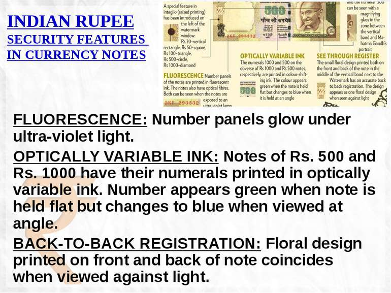 FLUORESCENCE: Number panels glow under ultra-violet light. OPTICALLY VARIABLE...