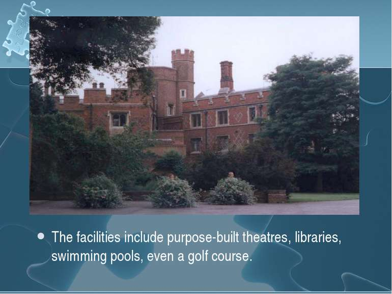 The facilities include purpose-built theatres, libraries, swimming pools, eve...