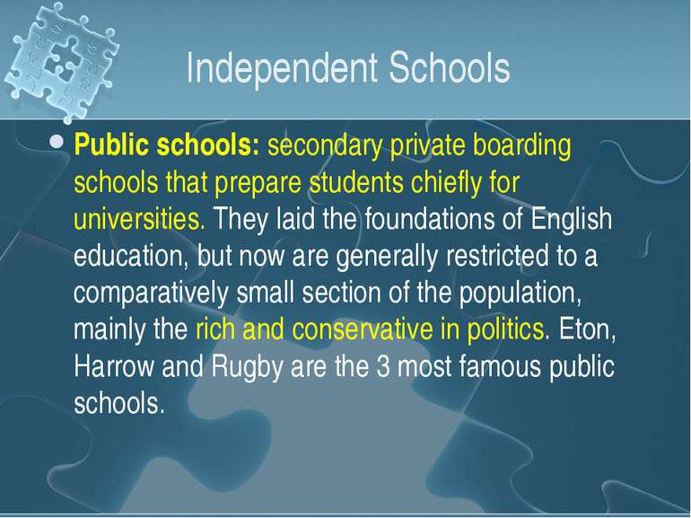 Independent Schools Public schools: secondary private boarding schools that p...