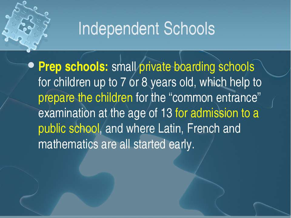 Independent Schools Prep schools: small private boarding schools for children...