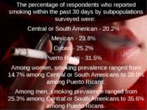 The percentage of respondents who reported smoking within the past 30 days by...