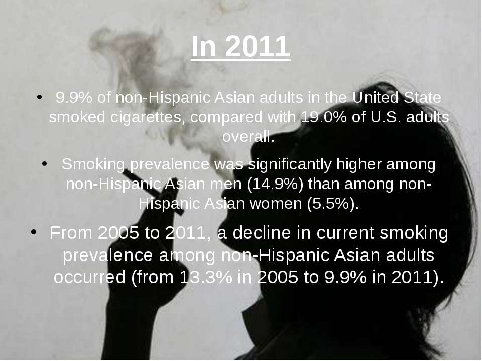 In 2011 9.9% of non-Hispanic Asian adults in the United State smoked cigarett...