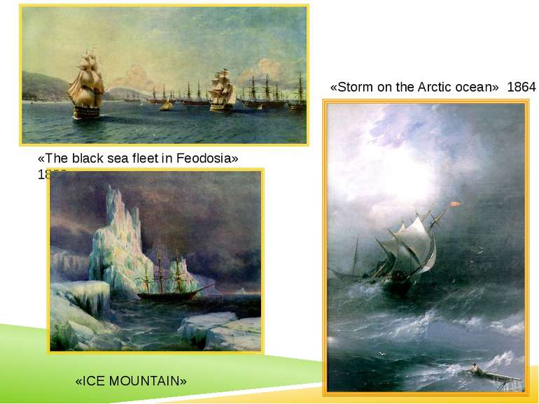«The black sea fleet in Feodosia» 1890 «Storm on the Arctic ocean» 1864 The a...