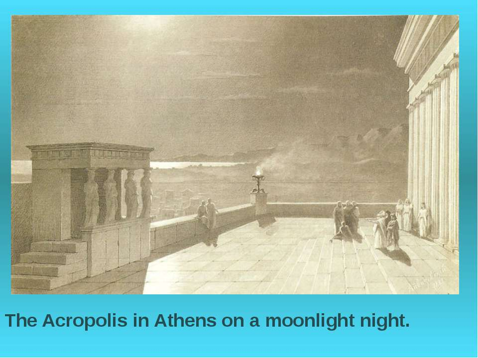 The Acropolis in Athens on a moonlight night.