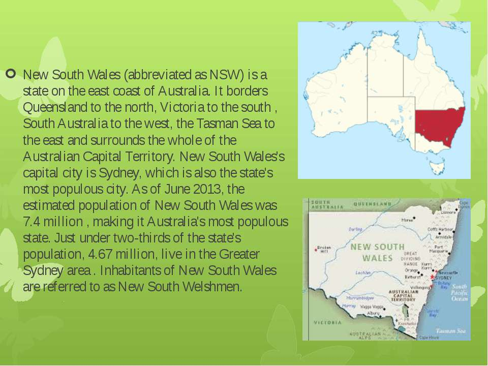 New South Wales (abbreviated as NSW) is a state on the east coast of Australi...
