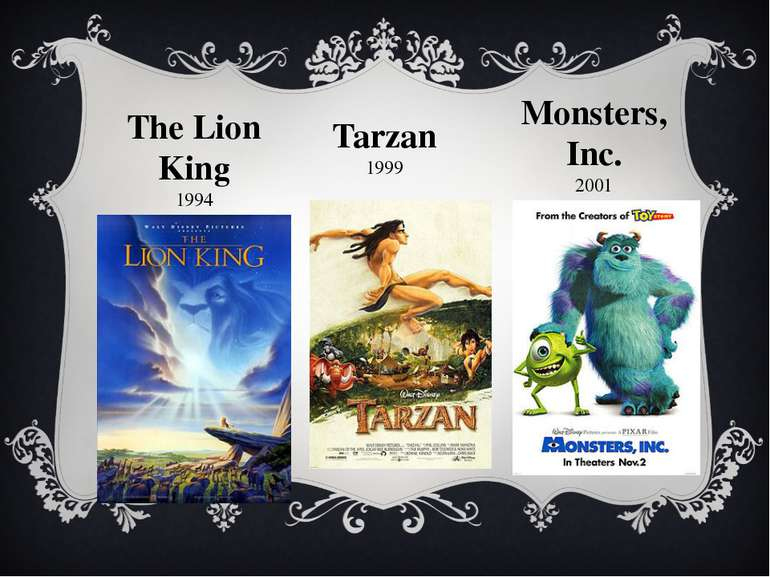 The Lion King 1994 Tarzan 1999 Monsters, Inc. 2001