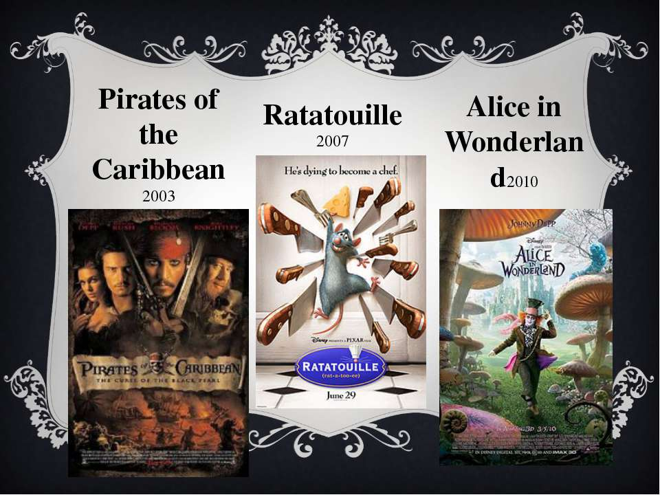 Pirates of the Caribbean 2003 Ratatouille 2007 Alice in Wonderland2010