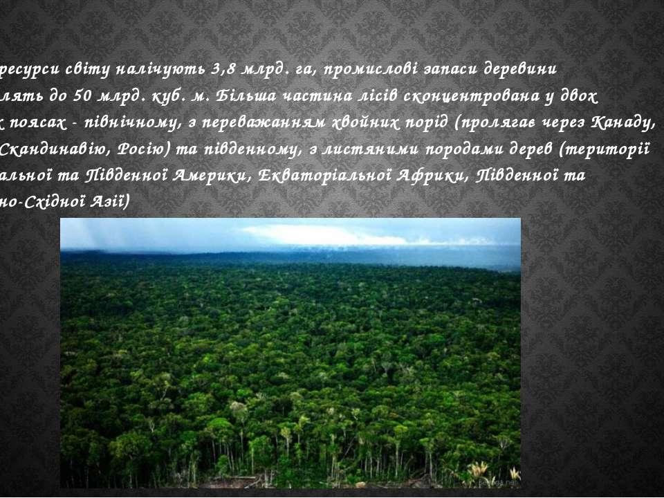 Лісові ресурси світу налічують 3,8 млрд. га, промислові запаси деревини стано...