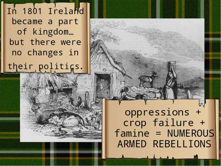 In 1801 Ireland became a part of kingdom… but there were no changes in their ...