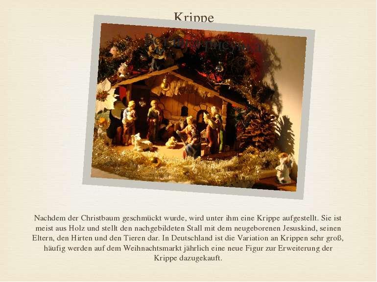 Krippe Nachdem der Christbaum geschmückt wurde, wird unter ihm eine Krippe au...