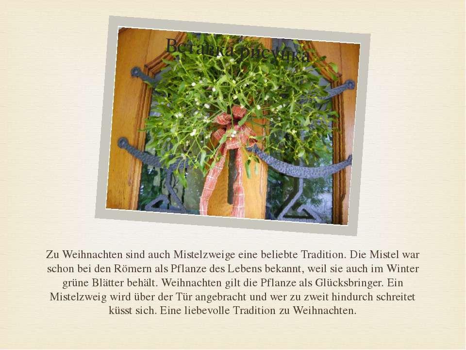 Zu Weihnachten sind auch Mistelzweige eine beliebte Tradition. Die Mistel war...