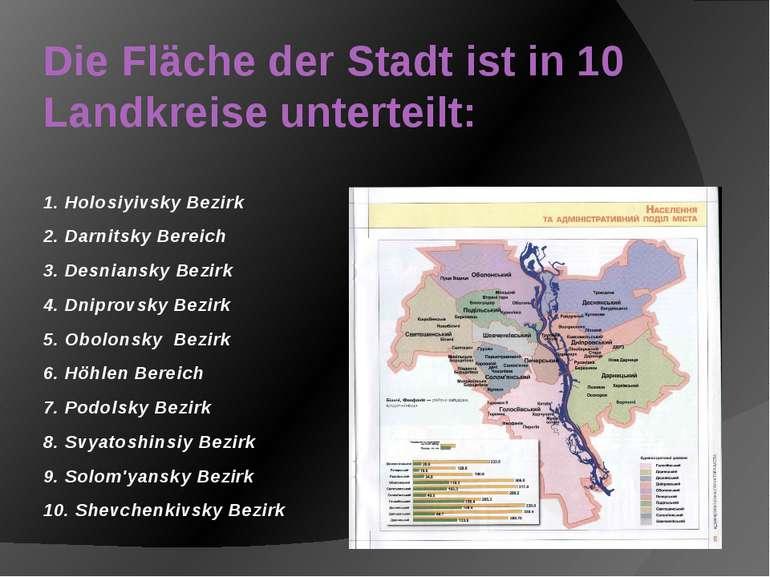 Die Fläche der Stadt ist in 10 Landkreise unterteilt: 1. Holosiyivsky Bezirk ...