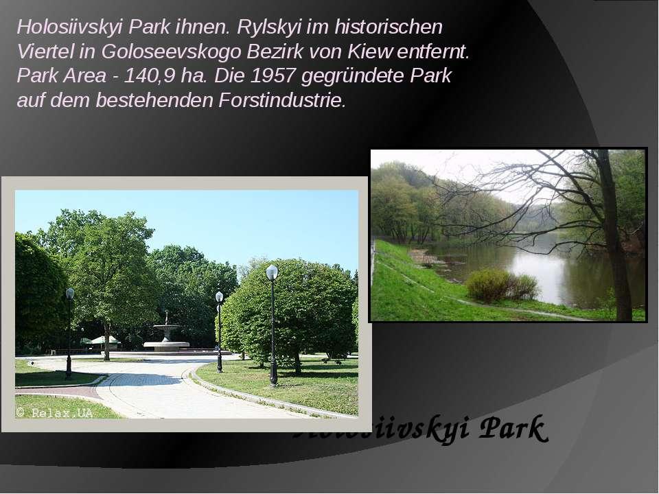 Holosiivskyi Park ihnen. Rylskyi im historischen Viertel in Goloseevskogo Bez...