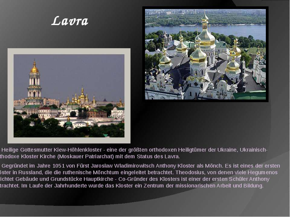 Heilige Gottesmutter Kiew-Höhlenkloster - eine der größten orthodoxen Heiligt...